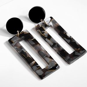 Black Rectangle Shaped Bohemian Fashion Earrings